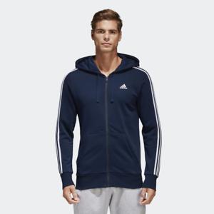 Adidas Essentials Homme 3 À Rayures À Capuche Pull Sweat à
