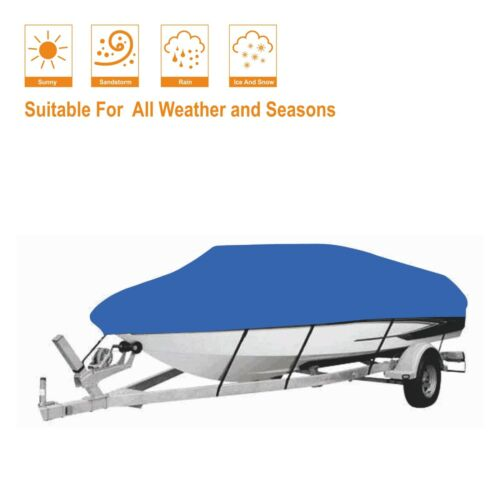 Blue Color 210D Oxford Fabric Waterproof Boat Cover 20 Ft 21 Ft 22 Ft.