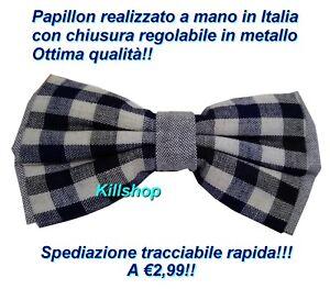 PAPILLON-UOMO-BLU-A-QUADRI-FANTASIA-FATTO-A-MANO-IN-ITALIA-CERIMONIA-ELEGANTE