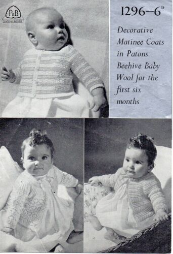 Patons 1296 Vintage Baby Girl Knitting Pattern Cardigans 0-6 months 4 ply Repro