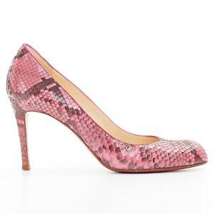 CHRISTIAN-LOUBOUTIN-Simple-Pump-85-genuine-pink-python-almond-toe-high-heel-EU36
