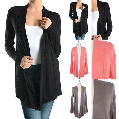 Women's Jersey Solid Rayon Basic Plain Draped Cardigan Long Sleeve Spandex S M L