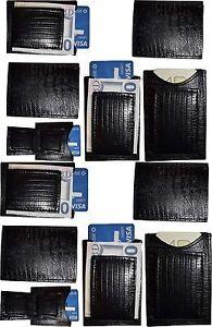 Lezard-Noir-Peau-Imprime-Cuir-Argent-Pince-Unbranded-Argent-Pince-Neuf-Lot-de-12
