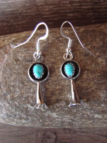 Navajo Native American Sterling Silver Turquoise Squash Blossom Dangle Earrings