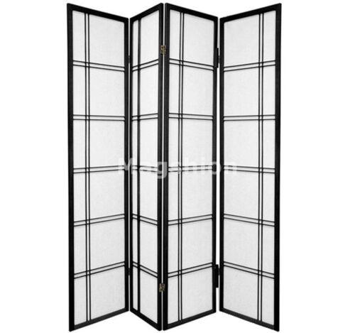"4 Panel 70/""x70/"" Shoji Screem Room Divider//Privacy Wall Double Cross Black"