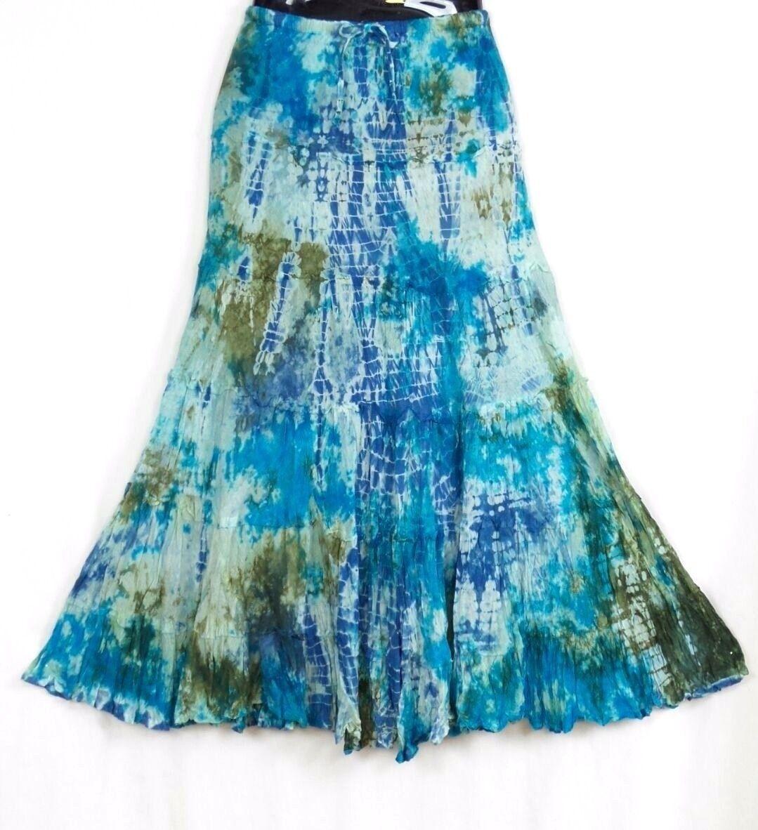 Tie Dye Skirt Long bluee Hippie Casual Peasant Summer Festival 100% cotton NWT
