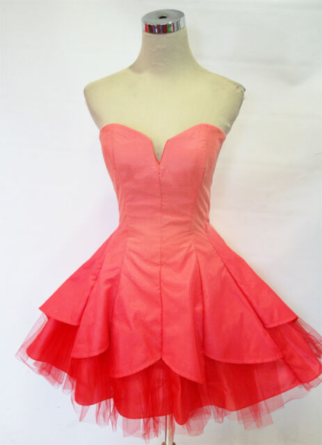 NWT MASQUERADE $120 CORAL Cocktail Prom Party Dress 3