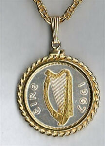 Details about Silver and Gold Coin Necklace W/ Rope Bezel, Irish ½ penny  Harp, 115W