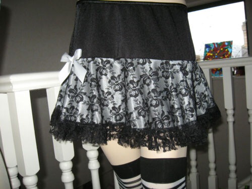 New Black Grey Leaf Green  Lace Skater Skirt Lolita Party Dance Gothic Retro