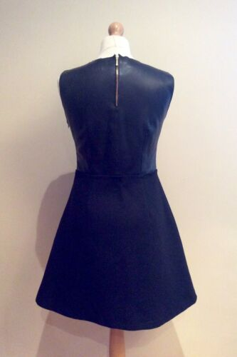 Faux Size Uk M Dress Black Wool Zip 12 Leather Zara wFUqSZRxc