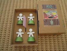TWERGI set 4 segnaposto acciaio e legno tinto verde - RARISSIMO -