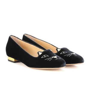 5c3177808 Image is loading Women-Olympia-Kitty-Cat-Velvet-Flats-Loafers-Charlotte-