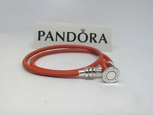 4ed190336 Pandora Medium Spicy Orange Double Leather 15 In 38 CM Bracelet ...