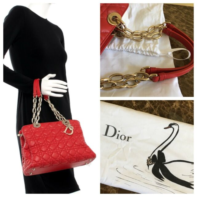 b524cb8ce5b7 Christian DIOR Soft Lady Lambskin Cannage Chain Shopping Tote Red GHW NWT  w RCPT