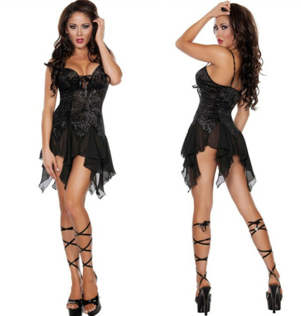 Sexy Women Lingerie Black See-Through Burlesque Cabaret Dancer Halloween Costume
