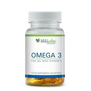 Omega 3 Capsule di Olio di pesce acidi grassi essenziali ad alto dosaggio con Vitamina E