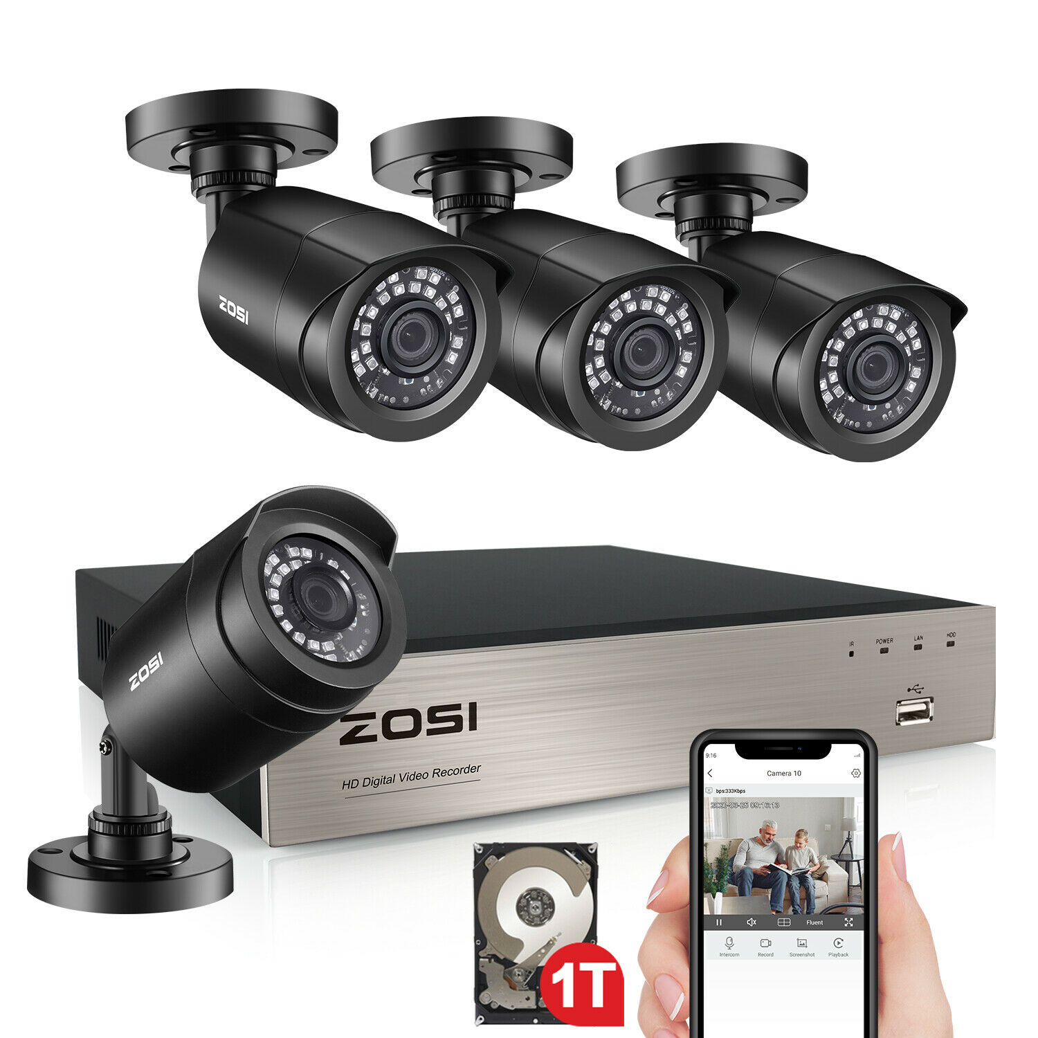 ZOSI 5MP Lite 8CH DVR 1080P Outdoor Security Camera System with Hard Drive 1TB. Available Now for 170.99