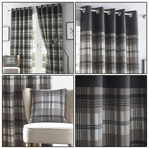 Grey-Eyelet-Curtains-Tartan-Check-Plaid-Modern-Ready-Made-Lined-Ring-Top-Pairs
