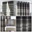 Grey-Eyelet-Curtains-Tartan-Check-Plaid-Modern-Ready-Made-Lined-Ring-Top-Pairs thumbnail 1