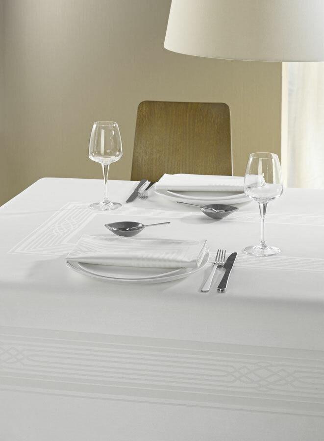 Curt Bauer damassé nappe linge de table 130 225 Fuga Blanc