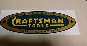 Craftsman-Tools-lathe-vintage-1930-039-s-style-decal-8-7-8-034-early-blue-gold-yellow