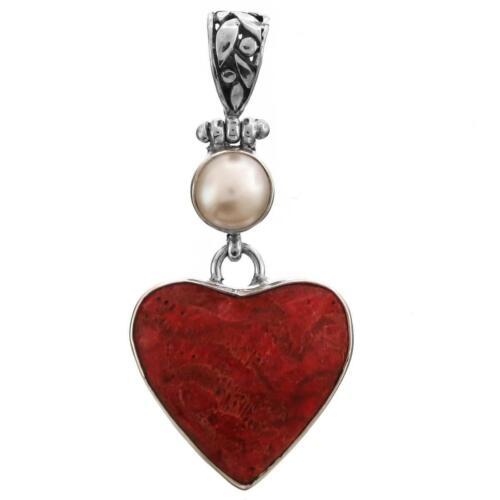 4.4cm Corail Rouge Coeur Biwa de Culture Perle 925 Pendentif Argent Massif
