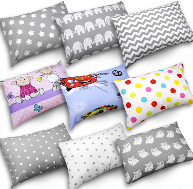 Pillow case ONLY, Small grey stars on white BABY PILLOW CUSHION KIDS 60x40cm BACK SUPPORT DECORATIVE ANTI-ALLERGENIC