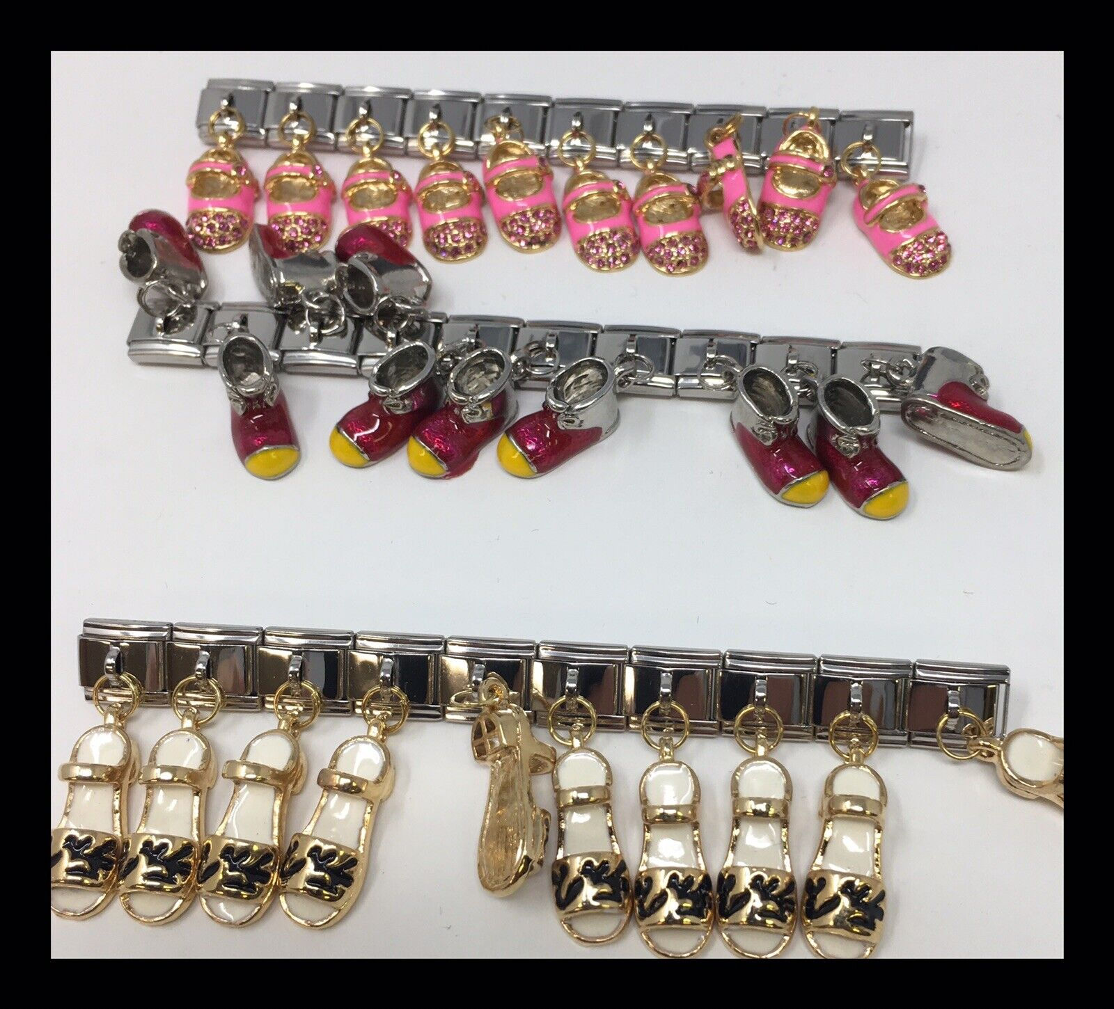Lot -100 Pcs Assorted 9mm Classic Size Italian Charms Baby shoes Charms