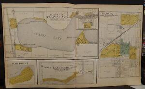 Clark Lake Michigan Map.Michigan Jackson County Map Clark S Lake Parma 1911 Double Page L19