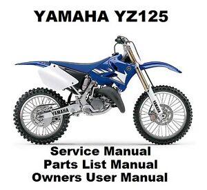 yamaha yz125 owners workshop service repair parts list manual pdf on rh ebay co uk Yamaha YZ 125 Custom Yamaha TW200
