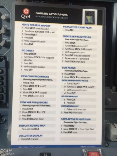 GARMIN GPSMAP 696//695 QUICK REFERENCE CHECKLIST CARD by Qref p//n GA-696-2