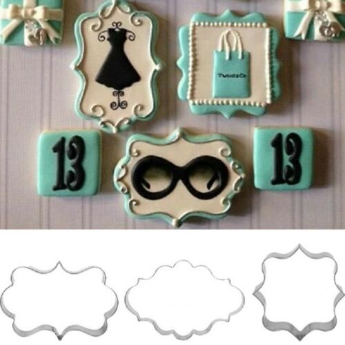 3Pcs Cookies Pastry Fondant Cake Sugarcraft Decorating Mold Frame Cutter Tool