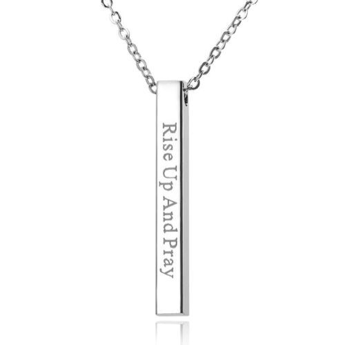 Stainless Steel Never Give Up Personalized Engraved Custom Pendant Necklace Gift