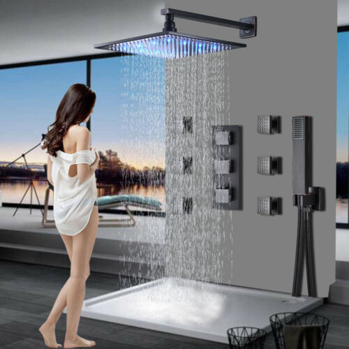 """Thermostatic 12/"""" Led Oil Rubbed Bronze Rainfall Shower Faucet Combo Set System"""