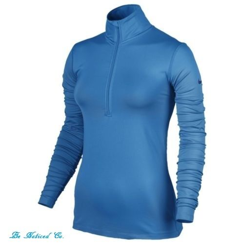 Nike Pro Warm Dri-FIT Half-Zip Training Top XS Blue Long Sleeve Running Gym New