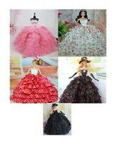 Wedding Dress Party Clothes Gown Outfit For Barbie Doll Gloves & Hat 3 Pcs