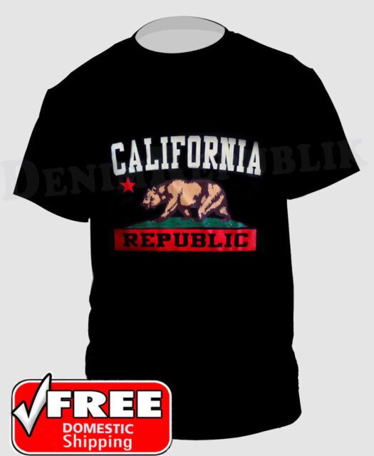 CALIFORNIA REPUBLIC & State Bear Black T-Shirt Cali Life Graphic New Men's Tee