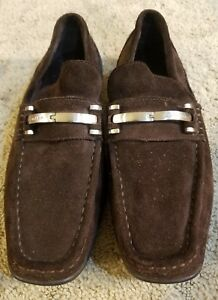 Calvin Klein Men s 9.5 M BENNY Brown Suede Loafers Slip On ... 19e7c387d44