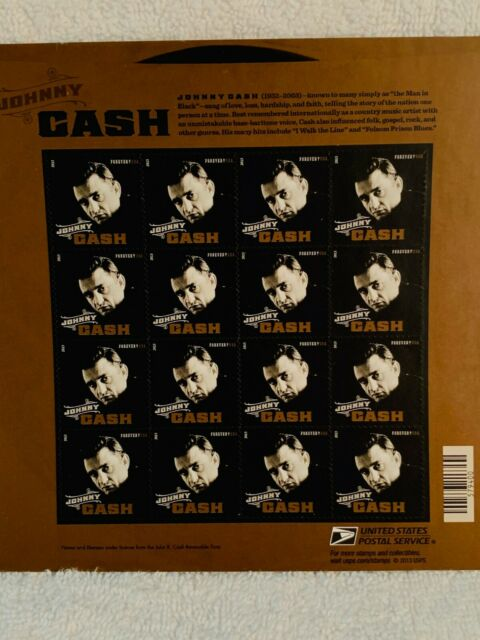 Johnny Cash USA Full Sheet of 20 MNH Forever Stamps Souvenir sheeet