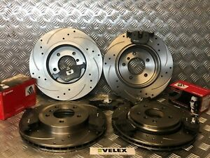 BMW-330CI-330D-330i-E46-FRONT-amp-REAR-DRILLED-amp-GROOVED-DISCS-BREMBO-PADS-99-05