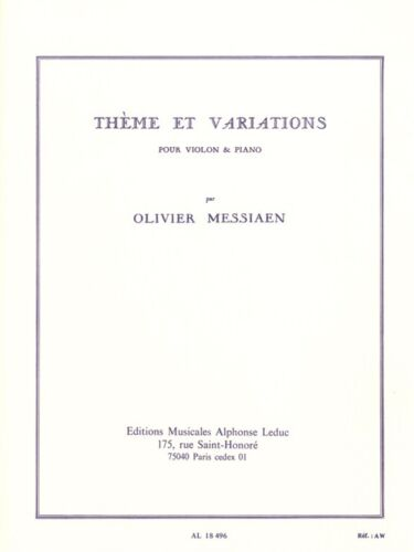 Olivier Messiaen Thème Et Variations Violin Piano Classical Violin MUSIC BOOK