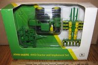 John Deere 9300 4wd Tractor & Implement 1/64 Set Ertl Toy 5805 Planter Disk Rare