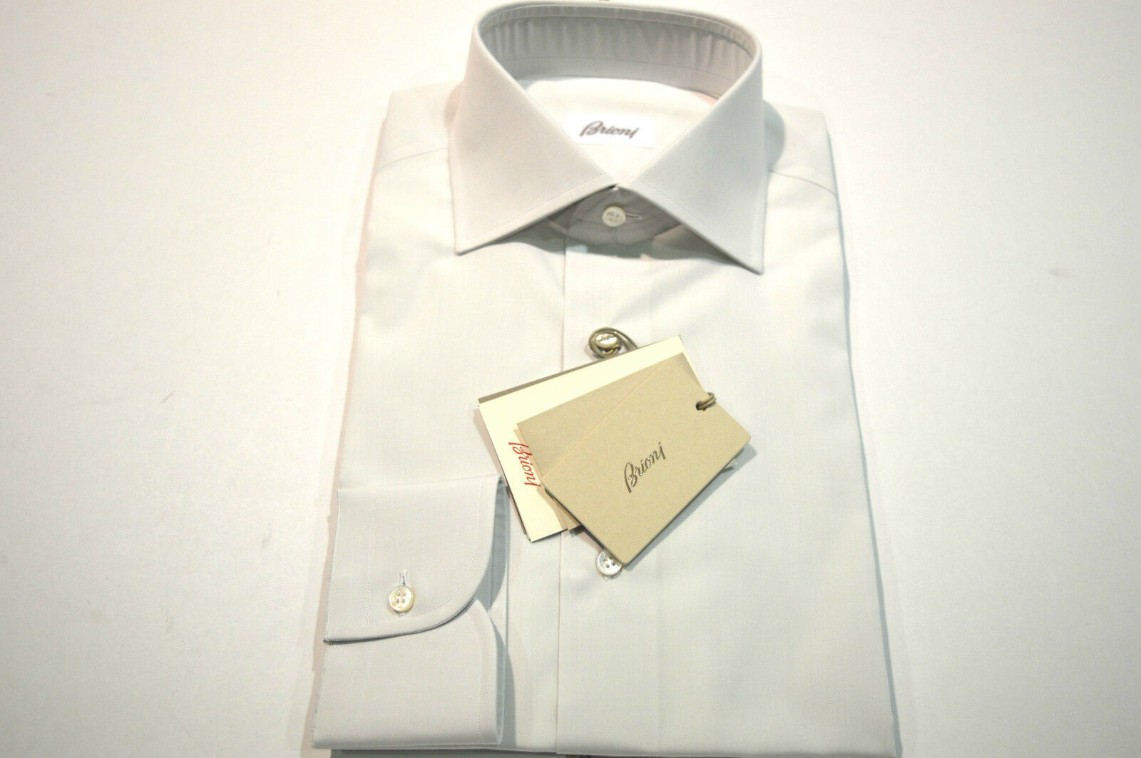NEW  BRIONI Dress SHIRT 100% Cotton Size 17.75 Us 45  Eu White (Store Code FE6)