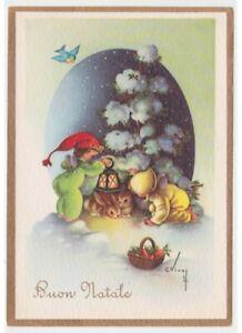 Immagini Vintage Natale.Vivey Cartolina Vintage Natale Angeli Bambini Conigli Sotto Abete Cesto Carote Ebay