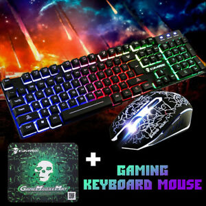 4adea30149f Image is loading Rainbow-Backlight-Usb-Rechargeable-Ergonomic-Gaming- Keyboard-Mouse-