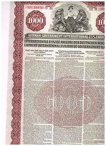 German-Government-International-Loan-Young-Loan-1930-1000-Gold-Bond