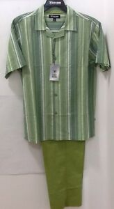 Stacy Adams Linen Mens 2 Piece Walking Suit Outfit Green