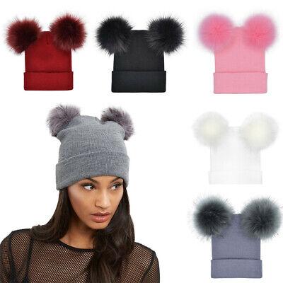 LADIES GIRLS RIBBED BEANIE HAT TWIN FAUX FUR POM POM BEANIE DESIGNER STYLE HATS