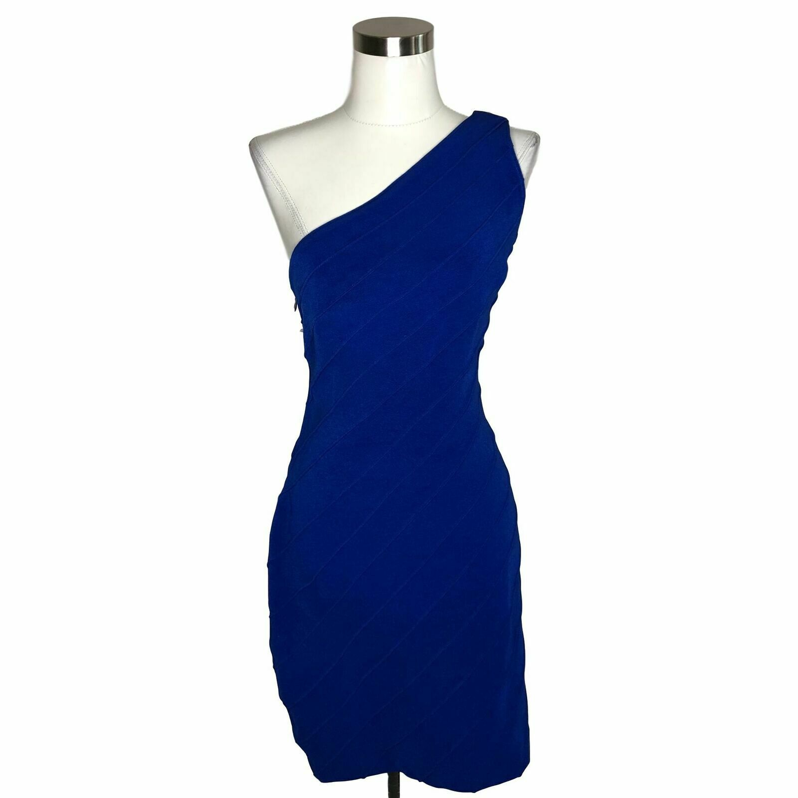 N496 NEW CACHE for TADASHI Vintage Dress Größe 12 Large Royal Blau Solid Bodycon