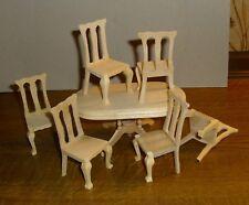 6 Stühle unbehandelt -  Miniatur 1:12,  Puppenhaus